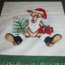 Christmas Santa Bear fabric pillow Panel