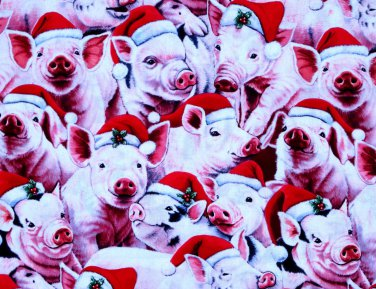 CHRISTMAS Pigs - David Tex. Fabric Fat Quarter
