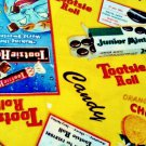 Old Adds Tootsie Roll, Junior Mints, Orange Charms Fabric FQ -rare Fat Quarter