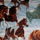 Wild Wings Free Reign Packed Horses cotton fabric fat quarter FQ -