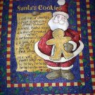 CHRISTMAS Santas Cookies Fabric Wall or Quilt panel