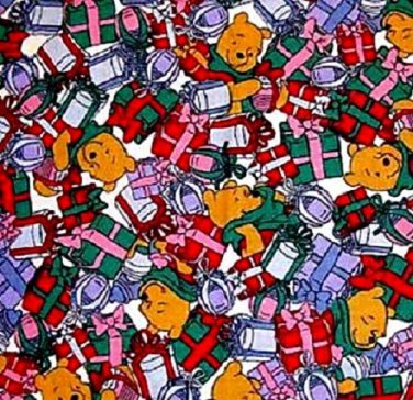 Disney Pooh with christmas gifts fabric Fat Quarter