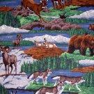 Wildlife outdoor Deer, Wolves, Bears Wild Goats fabric 1/2 yard