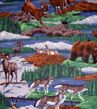 Wildlife outdoor Deer, Wolves, Bears Wild Goats fabric 1/2 yard