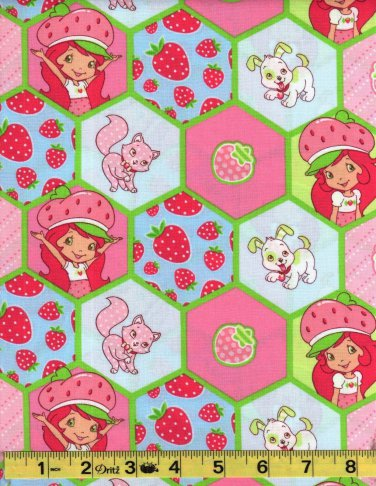 Strawberry Shortcake Honeycombs Cotton Fabric FQ fat quarter