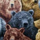 Wildlife outdoor Black, Grizzlie Bears fabric 1/2 yard