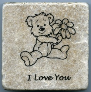 Bear with Flower Drink Coaster Wall Art Tumbled Tile Natural Stone I Love You