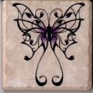 "Fancy Purple Butterfly on 4"" x 4"" Ceramic Tile Wall Art Decor Coaster Display"