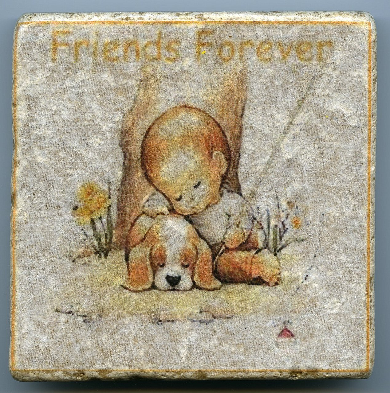 Friends forever little boy and dog fishing napping tumbled natural stone tile - Forever tile and stone ...