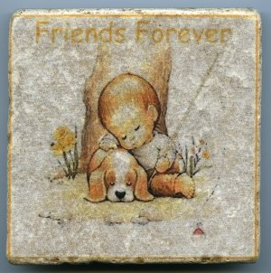 Friends Forever Little Boy and Dog Fishing Napping Tumbled Natural Stone Tile