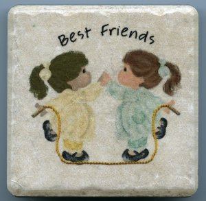 Best Friends Two Little Girls Jumping Rope on 4 in. x 4 in. Ceramic Tile Coaster