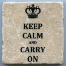 Keep Calm and Carry On Tumbled Tile Natural Stone Coaster Wall Art British WWII