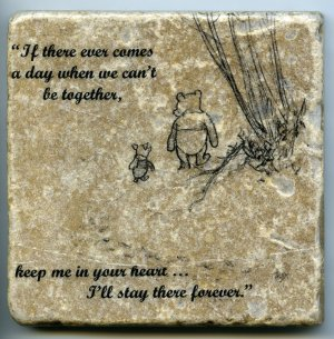 "Winnie the Pooh Quote Wall Art Tumbled Tile Coaster Natural Stone Piglet 4"" x 4"""