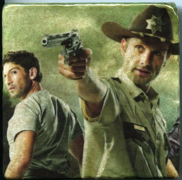 Rick Grimes & Shane Walsh The Walking Dead Art Tile Coaster Wall Art Paperweight