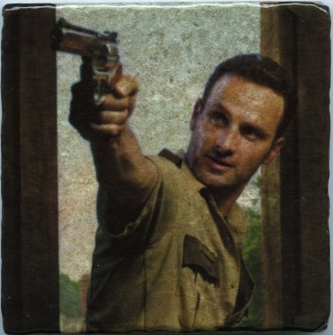 The Walking Dead Rick Grimes Wall Art Drink Coaster Paperweight Table Accent Display Easel