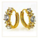 18K Gold Zircon Huggie Hoop Earrings