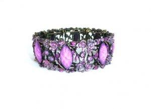 Flower Colorful Open Cuff Bronze Purple Rhinestone Bracelet