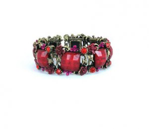 Colorful Open Cuff Bronze Rhinestone Bracelet