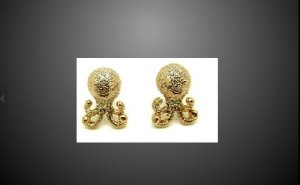 18K Gold Plated Frosted Octopus Earrings Small