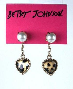 Betsey Johnson Leopard Heart Pearl Earrings