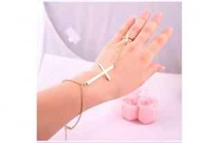 Gold Plated Cross Bracelet Ring 6.5 Chain