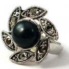 Tibetan Silver Black Rhinestone Flower Ring Size 10