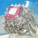 18K White Gold Pink Topaz Ring Size 7
