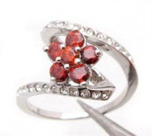 10K White Gold Red Tourmaline Ring Size 9