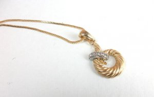 14K Gold Zircon Swirl Necklace