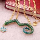 Betsey Johnson Rhinestone Snake Flower Necklace