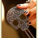 Gothic Skull Scrollwork Antique Silver Necklace