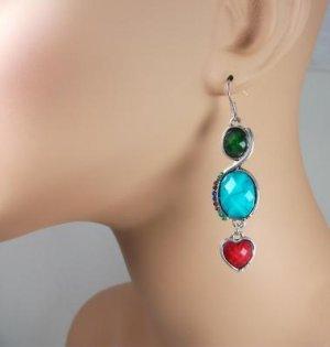 Tibetan Silver Heart Dangle Earrings