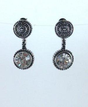 Tibetan Silver Crystal Dangle Earrings