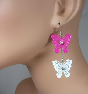 Pink and White Rhinestone Butterfly Dangle Earrings