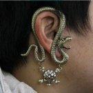 Bronze Snake Skull Ear Cuff Earring