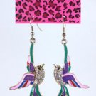 Betsey Johnson Rhinestone Flying Bird Earrings