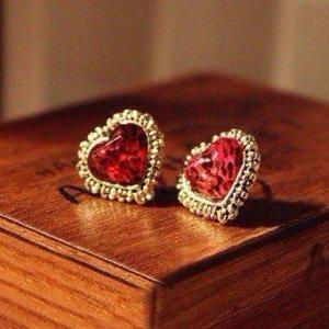 Betsey Johnson Red Leopard Heart Earrings