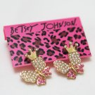 Betsey Johnson Rhinestone Butterfly Pearl Earrings