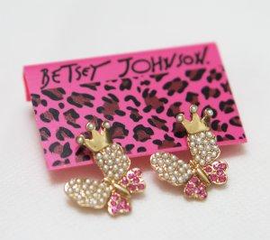 Betsey Johnson Rhinestone Butterfly Pearl Earrings
