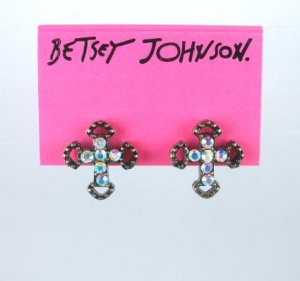 Betsey Johnson Rhinestone Cross Earrings