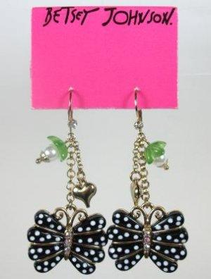 Betsey Johnson Butterfly Pearl Rhinestone Heart Earrings