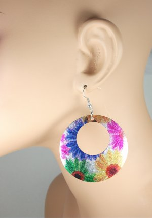 Metal Flower Colorful Dangle Earrings