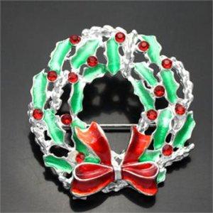 Christmas Rhinestone Wreath with Bow Pin Brooch