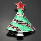 Christmas Enamel Rhinestone Tree Pin Brooch