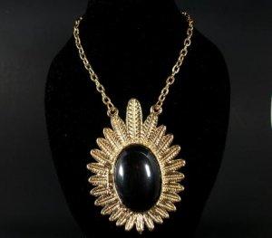 Gold Tone Black Flower Leaf Necklace