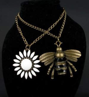 2 piece Bronze Enamel Bee and Flower Necklace Set