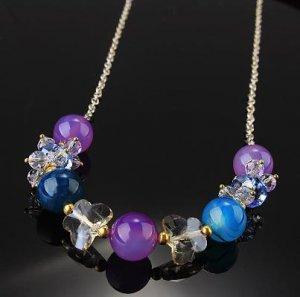 Multi Gemstone Butterfly Necklace