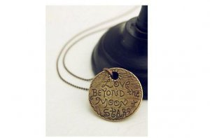 Bronze Love Beyond The Moon and Stars Necklace