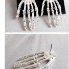 Gothic Silver Skeleton Hand Earrings