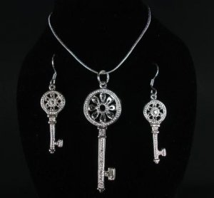 Silver Filled Rhinestone Key Necklace and Earrings Set